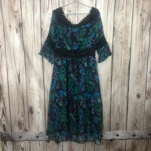 NWT Vicky & Lucas Blue Floral Maxi Dress Large